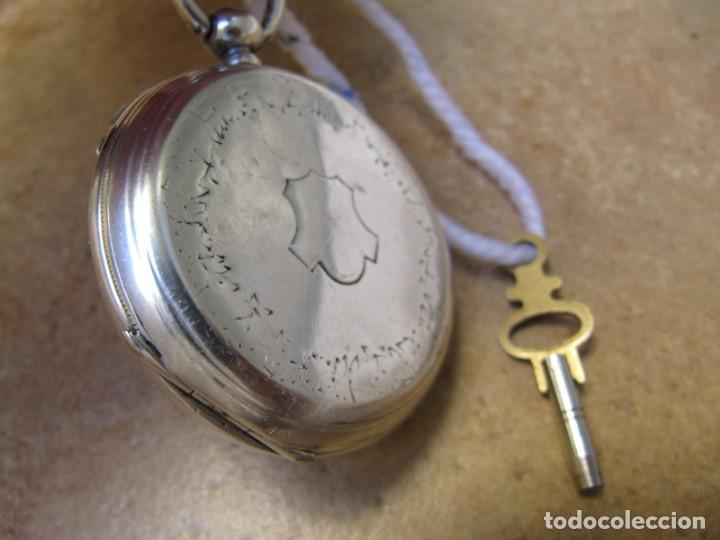 Relojes de bolsillo: ANTIGUO RELOJ DE CUERDA DE BOLSILLO DE PLATA DE LLAVE. - Foto 36 - 224534018