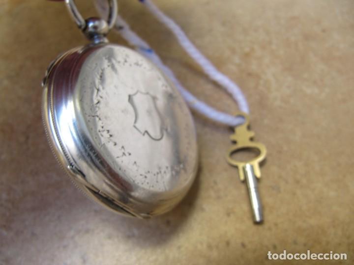 Relojes de bolsillo: ANTIGUO RELOJ DE CUERDA DE BOLSILLO DE PLATA DE LLAVE. - Foto 37 - 224534018