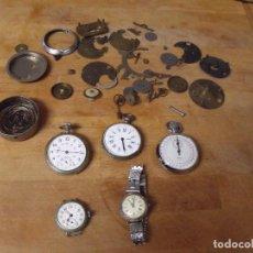 Relojes de bolsillo: 5 RELOJES DE BOLSILLO ANTIGUOS Y PIEZAS REPARACION RELOJES - LOTE 259. Lote 235081900
