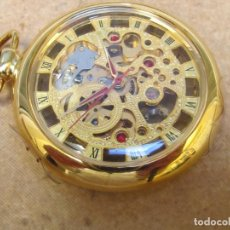 Relojes de bolsillo: RELOJ DE BOLSILLO DE CUERDA CON TODA SU MAQUINARIA Y PIEZAS VISTA LLAMADO TAMBIEN ESQUELETO. Lote 235196780
