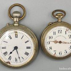 Relojes de bolsillo: PAREJA DE RELOJES DE BOLSILLO. ROSKOPF PATENT. CAJAS DE METAL PLATEADO. SIGLO XX. Lote 235622950