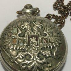 Relojes de bolsillo: RELOJ DE BOLSILLO MONIJA -RUSO- ESCUDO MILITAR REVERSO DE CABALLERÍA. Lote 235812550