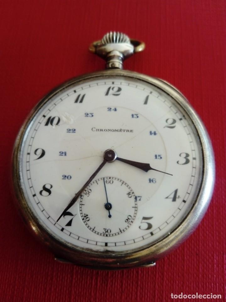 RELOJ DE BOLSILLO DE PLATA CHRONOMETRE (Relojes - Bolsillo Carga Manual)