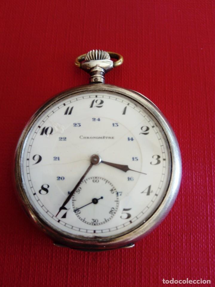 Relojes de bolsillo: Reloj de bolsillo de plata Chronometre - Foto 5 - 236245050