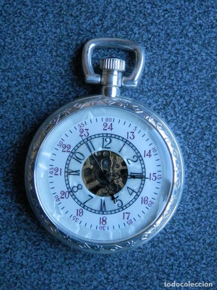 BONITO RELOJ DE BOLSILLO CARGA MANUAL GRANDE REPRODUCCIÓN ANTIGUOS - FUNCIONANDO MAQUINARIA VISTA (Relojes - Bolsillo Carga Manual)