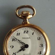 Relojes de bolsillo: RELOJ COLGANTE, CHAPADO EN ORO, MILDIA, INCABLOC, FABRICADO EN SUIZA, 1960. Lote 237111680