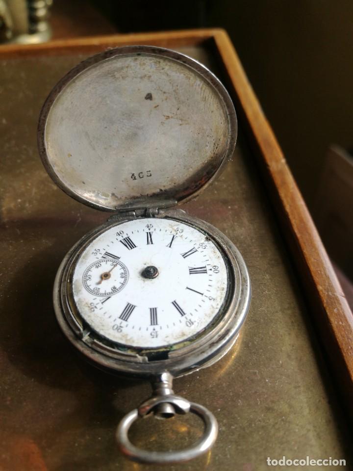 Relojes de bolsillo: Reloj de bolsillo 34 mm, plata 800 nielado tres tapas - Foto 2 - 238416585