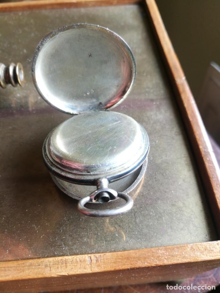 Relojes de bolsillo: Reloj de bolsillo 34 mm, plata 800 nielado tres tapas - Foto 4 - 238416585