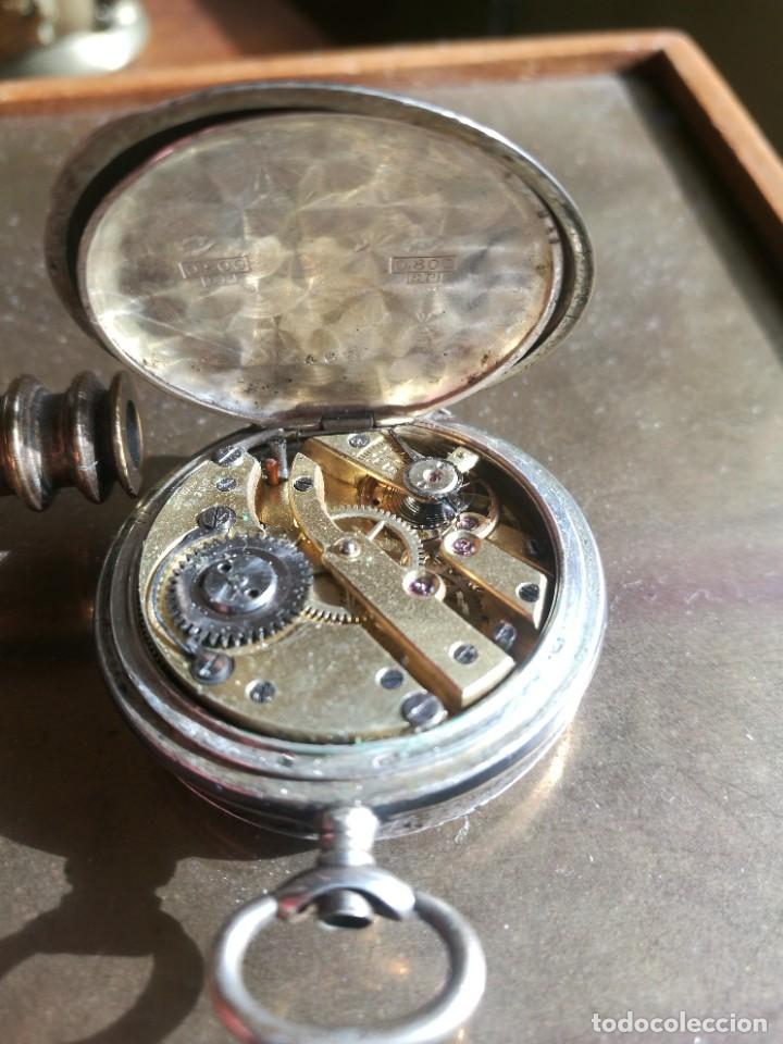 Relojes de bolsillo: Reloj de bolsillo 34 mm, plata 800 nielado tres tapas - Foto 5 - 238416585