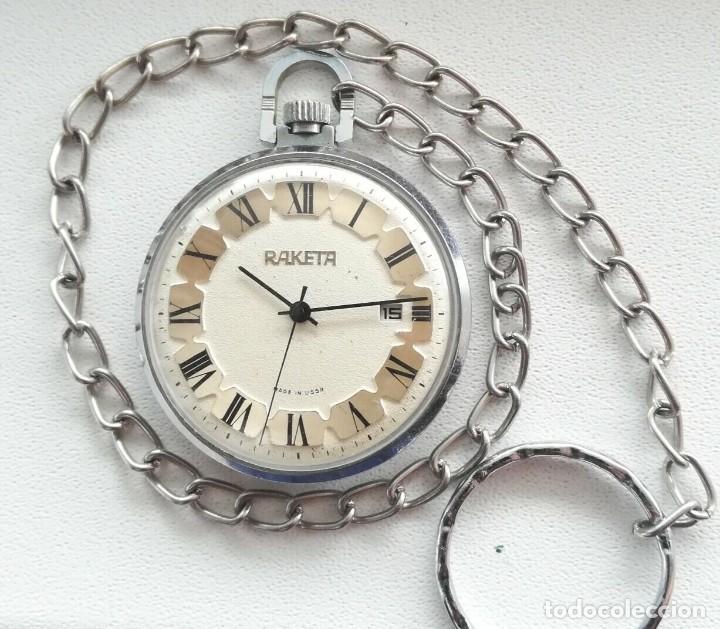 PRECIOSO Y ELEGANTE RELOJ DE BOLSILLO RUSO DE LOS AÑOS 60/70 MARCA RAKETA (Relojes - Bolsillo Carga Manual)