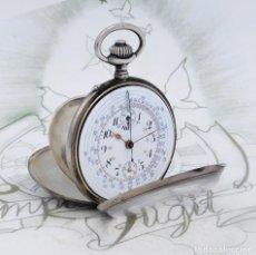 Relojes de bolsillo: FANTÁSTICO RELOJ DE BOLSILLO-CRONÓGRAFO-DE PLATA-3 TAPAS-CIRCA 1920-SUIZO-FUNCIONANDO. Lote 238568130