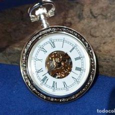 Relojes de bolsillo: PRECIOSO RELOJ DE BOLSILLO LEPINE PLATA Y PIEL CON CADENA. Lote 239607845