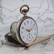 Relojes de bolsillo: MUY BONITO RELOJ DE BOLSILLO DE PLATA BICOLOR-3 TAPAS-CIRCA 1900-1920-FUNCIONANDO. Lote 239958995