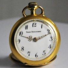 Relojes de bolsillo: UNION HORLOGERE-ORO 18 K Y 3 DIAMANTES-3 TAPAS-RELOJ DE BOLSILLO-SUIZO-FUNCIONANDO. Lote 126692003