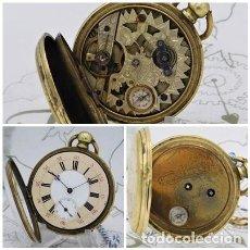Orologi da taschino: M.I.CHRONOMETRE-INUSUAL RELOJ DE BOLSILLO-CON BRUJULA-CIRCA 1830-FUNCIONANDO. Lote 242269940
