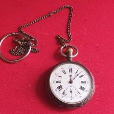 Relojes de bolsillo: RELOJ DE BOLSILLO CAJA DE PLATA REMONTOIRE FUNCIONA Y PARA .MIDE 54 MM DIAMETRO. Lote 244507905