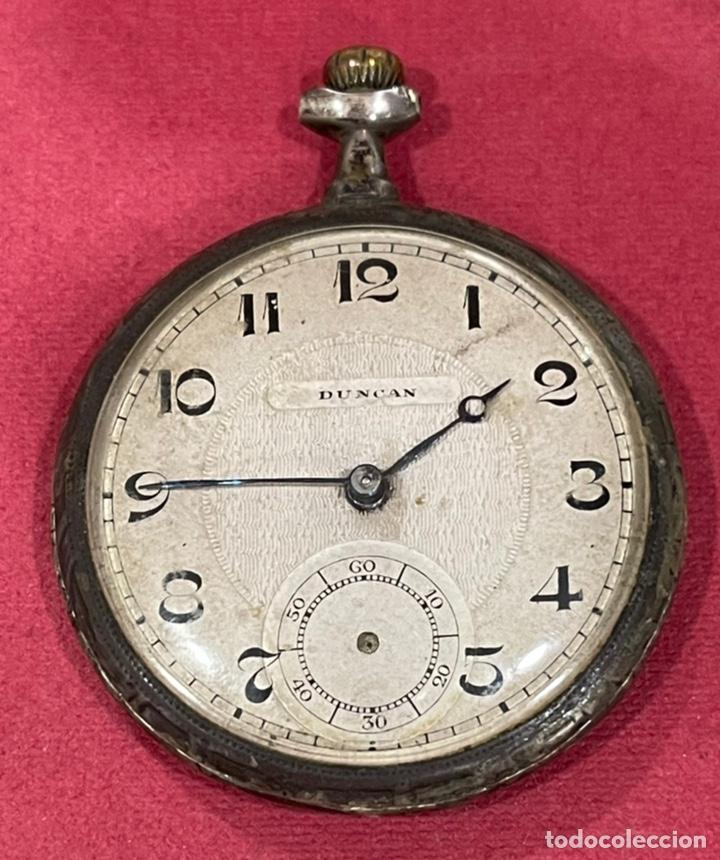 ANTIGUO RELOJ DE BOLSILLO DE PLATA MODERNISTA DUNCAN. (Relojes - Bolsillo Carga Manual)