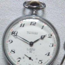 Relojes de bolsillo: ANTIGUO RELOJ DE BOLSILLO THERMIDOR 17 JEWELS INCABLOC CON CADENA.SWISS MADE. Lote 244717245