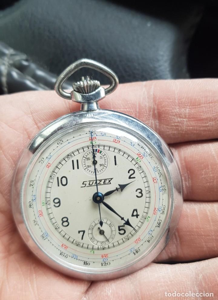 RELOJ ANTIGUO DE BOLSILLO CON CRONÓGRAFO Y TACHYMETRE CASI A ESTRENAR FUNCIONA TODO ALTA COLECCIÓN (Relojes - Bolsillo Carga Manual)