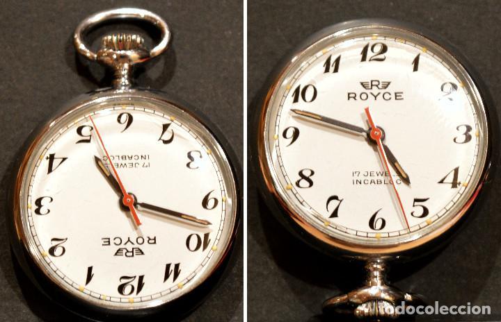 PEQUEÑO RELOJ DE BOLSILLO SUIZO ROYCE COLGANTE AUTOMATICO Y CARGA MANUAL 17 RUBIS INCABLOC (Relojes - Bolsillo Carga Manual)