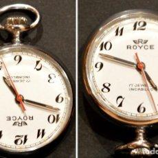 Relojes de bolsillo: PEQUEÑO RELOJ DE BOLSILLO SUIZO ROYCE COLGANTE AUTOMATICO Y CARGA MANUAL 17 RUBIS INCABLOC. Lote 246334845