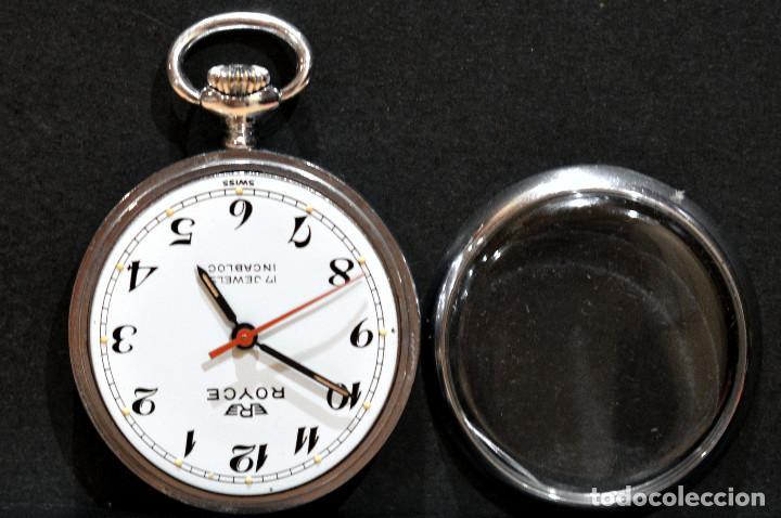 Relojes de bolsillo: PEQUEÑO RELOJ DE BOLSILLO SUIZO ROYCE COLGANTE AUTOMATICO Y CARGA MANUAL 17 RUBIS INCABLOC - Foto 2 - 246334845