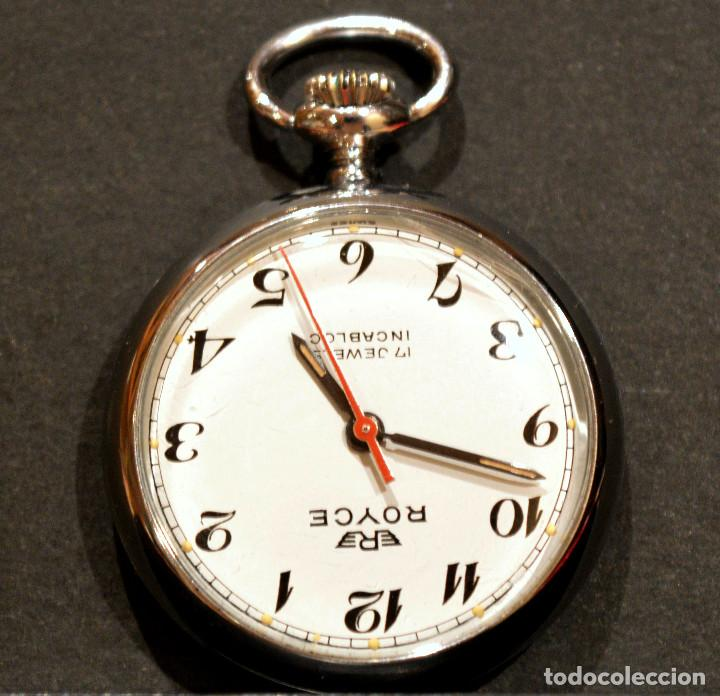 Relojes de bolsillo: PEQUEÑO RELOJ DE BOLSILLO SUIZO ROYCE COLGANTE AUTOMATICO Y CARGA MANUAL 17 RUBIS INCABLOC - Foto 3 - 246334845