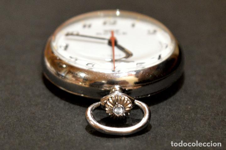 Relojes de bolsillo: PEQUEÑO RELOJ DE BOLSILLO SUIZO ROYCE COLGANTE AUTOMATICO Y CARGA MANUAL 17 RUBIS INCABLOC - Foto 7 - 246334845