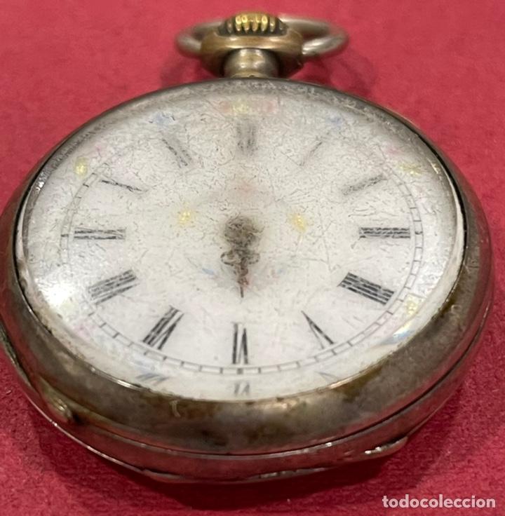 Relojes de bolsillo: Antiguo reloj de bolsillo de plata. S.XIX - Foto 3 - 246733215