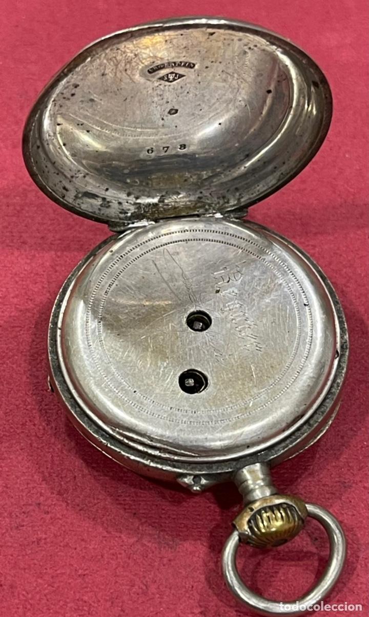 Relojes de bolsillo: Antiguo reloj de bolsillo de plata. S.XIX - Foto 4 - 246733215