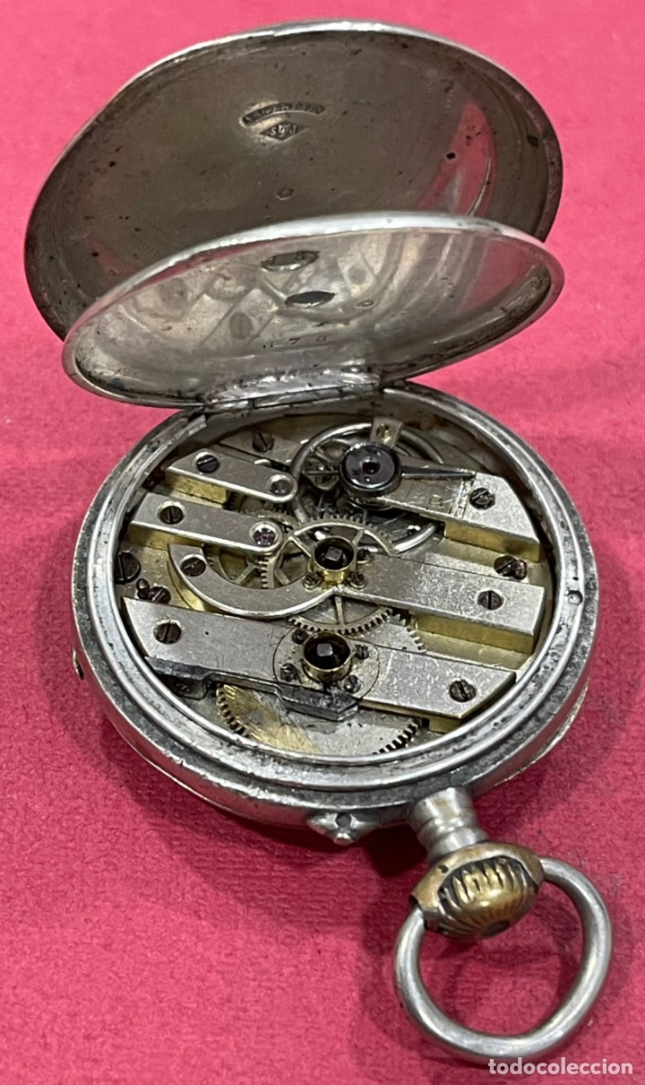 Relojes de bolsillo: Antiguo reloj de bolsillo de plata. S.XIX - Foto 5 - 246733215