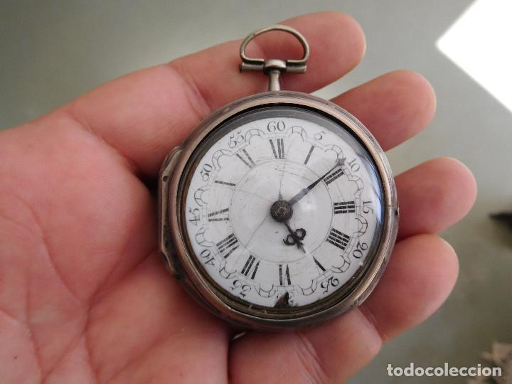 Relojes de bolsillo: Reloj de bolsillo catalino ingles Jones John con chichonera repujada plata año 1780 aprox. - Foto 56 - 247978135