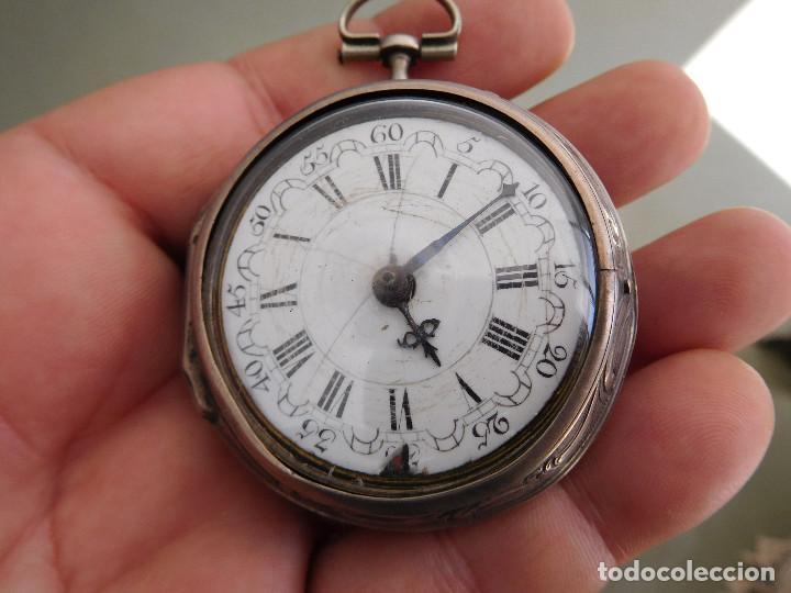 Relojes de bolsillo: Reloj de bolsillo catalino ingles Jones John con chichonera repujada plata año 1780 aprox. - Foto 2 - 247978135
