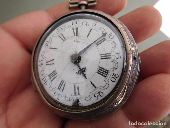 Relojes de bolsillo: Reloj de bolsillo catalino ingles Jones John con chichonera repujada plata año 1780 aprox. - Foto 3 - 247978135