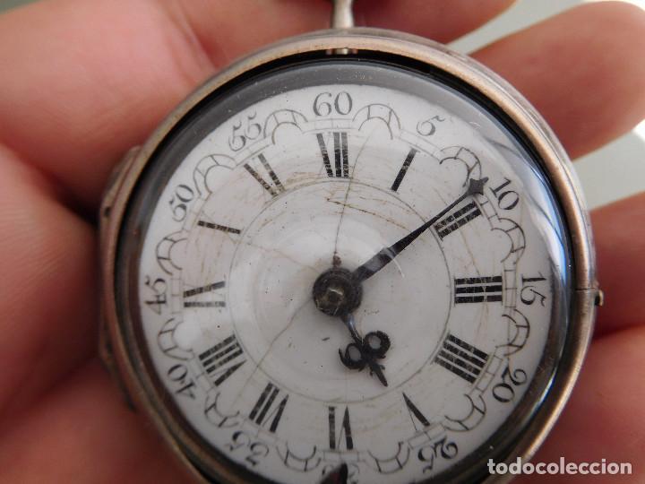 Relojes de bolsillo: Reloj de bolsillo catalino ingles Jones John con chichonera repujada plata año 1780 aprox. - Foto 4 - 247978135