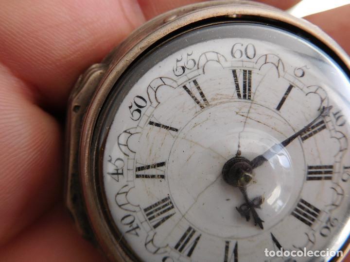 Relojes de bolsillo: Reloj de bolsillo catalino ingles Jones John con chichonera repujada plata año 1780 aprox. - Foto 5 - 247978135