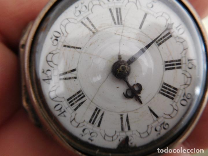 Relojes de bolsillo: Reloj de bolsillo catalino ingles Jones John con chichonera repujada plata año 1780 aprox. - Foto 6 - 247978135