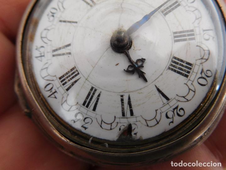 Relojes de bolsillo: Reloj de bolsillo catalino ingles Jones John con chichonera repujada plata año 1780 aprox. - Foto 7 - 247978135