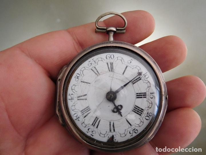 Relojes de bolsillo: Reloj de bolsillo catalino ingles Jones John con chichonera repujada plata año 1780 aprox. - Foto 9 - 247978135
