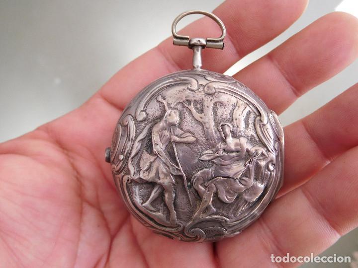 Relojes de bolsillo: Reloj de bolsillo catalino ingles Jones John con chichonera repujada plata año 1780 aprox. - Foto 18 - 247978135