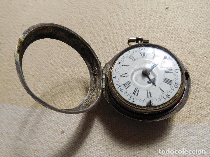 Relojes de bolsillo: Reloj de bolsillo catalino ingles Jones John con chichonera repujada plata año 1780 aprox. - Foto 27 - 247978135