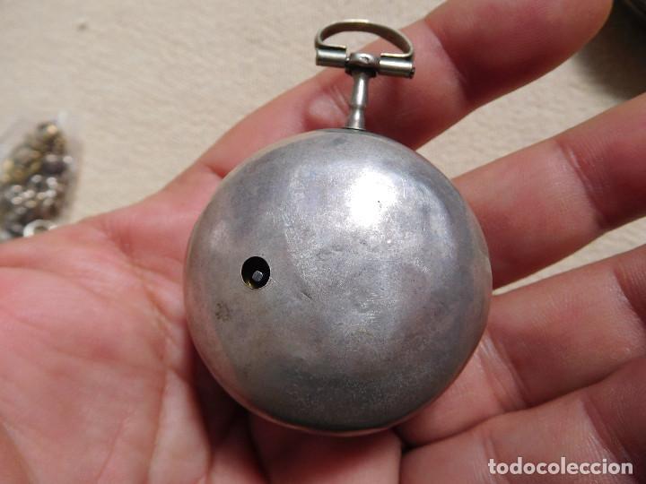 Relojes de bolsillo: Reloj de bolsillo catalino ingles Jones John con chichonera repujada plata año 1780 aprox. - Foto 36 - 247978135
