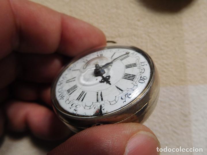Relojes de bolsillo: Reloj de bolsillo catalino ingles Jones John con chichonera repujada plata año 1780 aprox. - Foto 39 - 247978135