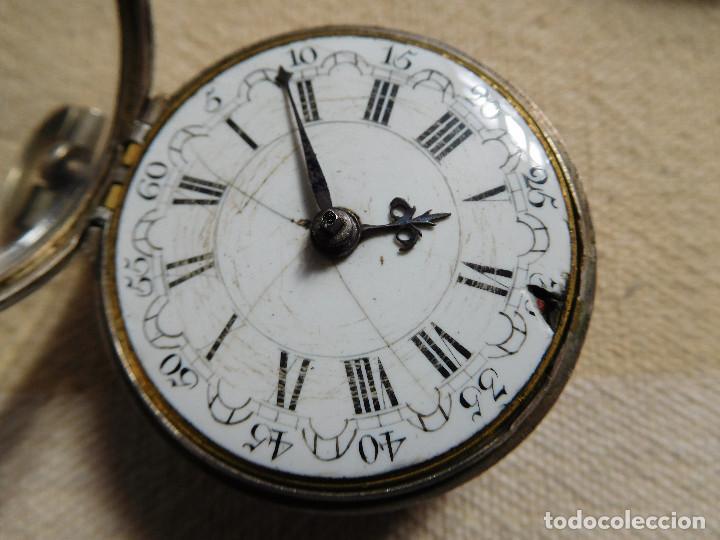 Relojes de bolsillo: Reloj de bolsillo catalino ingles Jones John con chichonera repujada plata año 1780 aprox. - Foto 40 - 247978135