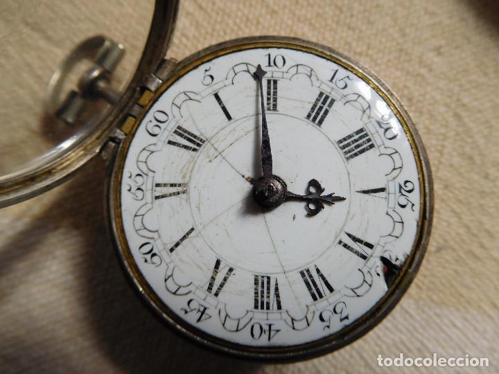 Relojes de bolsillo: Reloj de bolsillo catalino ingles Jones John con chichonera repujada plata año 1780 aprox. - Foto 41 - 247978135