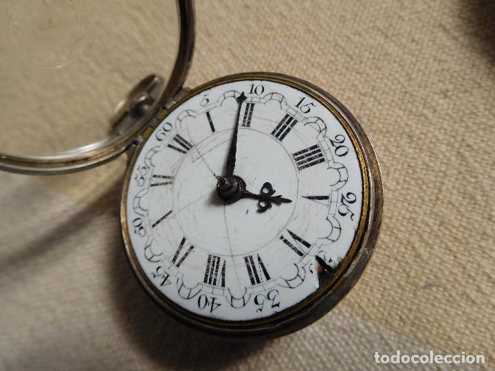 Relojes de bolsillo: Reloj de bolsillo catalino ingles Jones John con chichonera repujada plata año 1780 aprox. - Foto 42 - 247978135