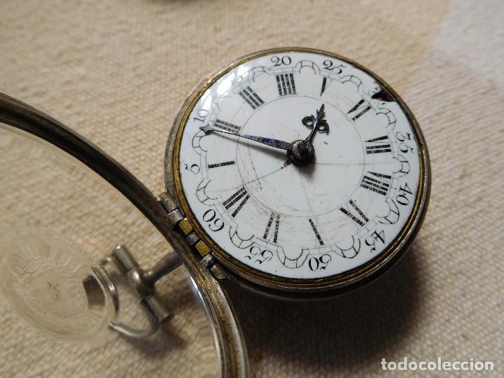 Relojes de bolsillo: Reloj de bolsillo catalino ingles Jones John con chichonera repujada plata año 1780 aprox. - Foto 43 - 247978135