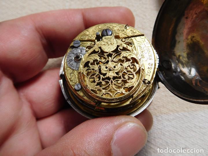 Relojes de bolsillo: Reloj de bolsillo catalino ingles Jones John con chichonera repujada plata año 1780 aprox. - Foto 44 - 247978135