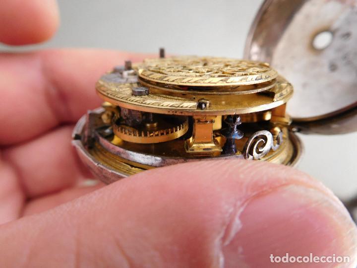 Relojes de bolsillo: Reloj de bolsillo catalino ingles Jones John con chichonera repujada plata año 1780 aprox. - Foto 47 - 247978135