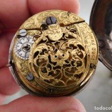 Relojes de bolsillo: RELOJ DE BOLSILLO CATALINO INGLES JONES JOHN CON CHICHONERA REPUJADA PLATA AÑO 1780 APROX.. Lote 247978135